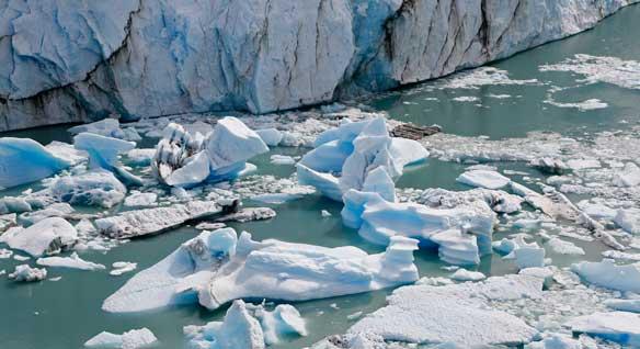 Detalle del hielo del glaciar caído al Lago Argentino