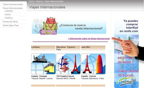 Información venta internacional de Renfe