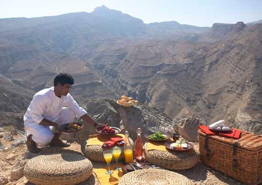 Picnic preparado por el Six Senses Zighy Bay de Omán